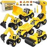 Dreamon Baustellen Fahrzeuge, Montage Bagger LKW Spielzeug mit Elektro-Drill Lernspiele Geschenk für Jungen Grils Age 4 5 6