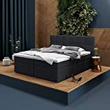 INNOCENT® - P8 | Boxspringbett 180x200 in Anthrazit Stoff N14 | Gel & Visco 7cm Topper | 7-Zonen Taschenfederkern | H2 / H3 Härtegrad | HB01| Designerb