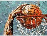 Basketball Öl gemalt erwachsene Kinder handgemaltes Set Geschenk DIY Leinwand nach Hause Wanddekoration 16x20 Zoll