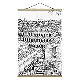 Stoffbild mit Posterleisten - Stadtstudie - Rom 150cm x 100cm Eiche