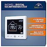Wifi/WLAN Digital Raumthermostat Unterputz Programmierbares Wandthermostat 230V mit Steuerung per App und großem LCD Display für elektrische Heizungen und Fußbodenheizungen von imow