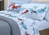 Bettwäsche-Set Flugzeugbett für die Welt, aus Baumwolle, hergestellt in Italien, Muster: Flugzeug, Bettlaken + Spannbettlaken + Kissenbezug auf beiden Seiten, Blau