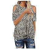 XUNN Damen Tops Mode Sexy Leopard Camouflage Print Knick Sexy 0ff Schulter Kurzarm T-Shirt Top Bluse Frauen Oberteil