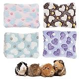 Meerschweinchen, Kaninchen, Hamster-Bett, 4 Stück, für Käfig, Hamster, warme Bettmatten, weiches Plüsch-Hamster-Pad-Matten, Hamster-Käfig, Meerschweinchen-Haus, Schlafmatte Eichhörnchen