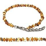 MetalGrand(5560) Bernstein Halsband für Hunde und Katzen mit Metallkette, natürliches Schutzmittel. Bernsteinkette von AmberNeck (55-60 cm)