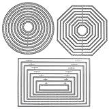 SourceTon 3 verschiedene Formen von Stanzformen Schablone Metallschablonen Formen (Rechteck, Kreis und Achteck) für Scrapbook, Album, Papier, Basteln und Kartenherstellung
