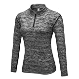 WOWENY Winter Damen Thermo Laufshirt Langarm Shirt für Damen mit Kurzem 1/4 Reißverschluss Sweatshirt - Fleece Running T-Shirt Sport Top