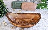 D.O.M.® Seifenschale Rustikal aus Olivenholz in 4 Ausführungen (12-14 cm mit Rille)