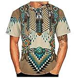 Yowablo T-Shirt Herren Casual 3D Ethnic Indian Style Digital Geometric Print Kurzarm (5XL,5Khaki)