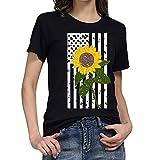 T-Shirt Frauen Plus Size Print T-Shirts Shirt Independence Day Bluse Tops (XXL,6Schwarz)