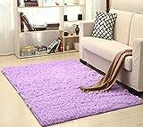 Super Soft Seide Wolle Teppich Innen Moderne Shag Bereich Teppich seidige Teppiche Schlafzimmer Bodenmatte Baby-Kinderzimmer-Teppich Kinderteppich (Farbe : Lilac, Größe : 160X200cm)