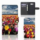 B2Ctelecom Tasche PU Leder kompatibel für Samsung Galaxy J7 2016 Handyhüllen Tulpen - Geschenkideen Für Frauen