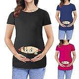 Snakell 2020 Damen Umstandsshirt Umstandsmode Schwangerschaft Schwangerschaft Tops Umstandslangarmshirt Baumwolle Maternity T-Shirt Nursing Schwang