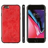TTNAO Handyhülle Kompatibel mit iPhone 7 Hülle Weiche TPU Schutzhülle Retro Ultra-dünne hülle Stoßfest Anti-Kratzen Bumper + [1 Stück] Panzerglas Schutzfolie-Groß Rot