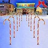 Surakey Festive LED Lichterkette - 10 Stück Weihnachten Beleuchtete Zuckerstangen Lichter Weihnachtsweg Marker, für Garten Dekoration, Gartenstecker Balkon Weihnachtsbeleuchtung Deko Außen