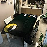 3D-Effekt丨Kaninchen Digitales Muster丨Wasserdichte Rechteckige Polyestertischdecke Für Die Haushaltsküche丨Dekorative Tischdecke Für Wohnzimmer丨Quadratische Tischdecke丨Esszimmer丨Couchtisch 140x180cm