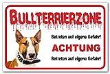 AdriLeo Schild - Vorsicht Bullterrier - Zone - (30x40cm) / Hellbraun/weiß - Achtung Hund Wachhund