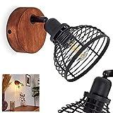 Wandleuchte Omba, Wandlampe aus Metall in Schwarz und dunkeln Holz, 1-flammige Vintage/Retro Look Zimmerlampe, 1 x E14 max. 40 Watt, Leuchtenkopf ist dreh- und schwenkbar