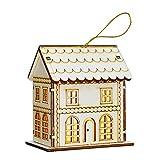 Amosfun Holz Weihnachtshaus mit Beleuchtung Weihnachtsdeko Dorf Häuser Holz Vintage Tischdeko Ornament Weihnachtsartikel Weihnachtsferien Party Deko Weihnachtsschmuck