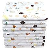 Mulltücher mit Natur Motiven 10er Pack| Spucktücher Baby | Stoffwindeln 70x80 | Mullwindeln | Öko-Tex (Blätter)