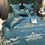 Bettbezug 90 X 200 Spannlaken,Seide BettwäSche, Leichte Luxus EuropäIsche Stickerei Vier-Teiliges Set, Reines Baumwolle Einzelbett Einzelbett Einzelne Bettdecke Kissenbezug L_200 * 2