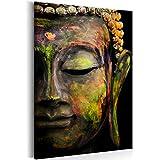 decomonkey Bilder Budda 80x120 cm 1 Teilig Leinwandbilder Bild auf Leinwand Wandbild Kunstdruck Wanddeko Wand Wohnzimmer Wanddekoration Deko Buddhismus Buddha