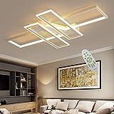 Moderne LED Deckenleuchten, dimmbare Wohn- und Schlafzimmerleuchten, rechteckige Deckenleuchten mit Fernbedienung, schwarz/weiß 90 cm (Weiß)