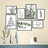 SEVEN WALL ARTS - Premium Poster Set - Natur Eucalyptus Love Drucke Bilder Set Stilvolle Bedruckte Wohnzimmer, Schlafzimmer, Küche Deko Pflanzen Bilder   3X A4   4X A5   - ungerahmt