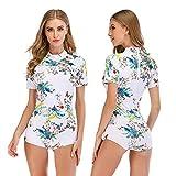 Sexy Lingerie Surfkleidung Kurzarm Sonnenschutz Warm Und Kalt Schutz Für Frauen Täglich Schwimmen, Tiefseetauchen,Weiß,XL