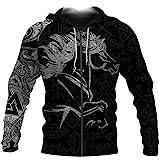 Serired Men Viking Zip Up Hoodie, Unisex 3D-Gedruckte Nordische Isländische Pferd Wappen Langarm Sweatshirt Mantel, Viking Mythologie Totem Pagan Drawstring Sweatshirts,B,M