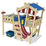 WICKEY Kinderbett Hochbett Crazy Hutty - blau/rote Plane Hausbett 90 x 200 cm, Etagenbett