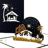 """3D Weihnachtskarte """"Heilige Familie – Weihnachten"""", Edle Pop-Up Karte zu Weihnachten mit Krippe in Blau & Weiß"""