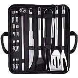 Grillbesteck Set, 18-teilig Grillwerkzeug-Set , BBQ Grillbesteck Tool Set Grillset, Grillwender, Grillbürste, Grillspieße, Fleischgabel