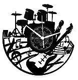 Instant Karma Clocks Wanduhr aus Vinyl Vintage Handmade Gitarre Batterie Schlagzeuger, Geschenkidee Musiker, Haus Dekoration Musikliebhab