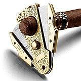 VIY Zigarrencutter, Zigarrenschneider, Taschen-Zigarrenwerkzeug aus Edelstahl mit Doppelklinge zum Schneiden von Zigarren, Ringmaß 55