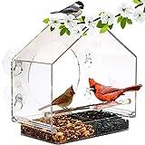 Yinuoday Fenster Vogelhäuschen Haustier Vogelhäuschen Vogelkäfig Transparente Acryl Fenster Hängen Vogelhäuschen mit Saugnapf