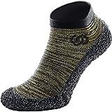Skinners | Unisex Minimalistische Barfußschuhe für Damen & Herren | Minimalist Barefoot Socks/Shoes for Men & Women | Olivgrün schwarzes Logo, L