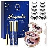 Magnetische Wimpern, LOOYA Magnet Wimpern mit Eyeliner 7 Paar Falsche Wimpern 3D mit Wiederverwendbarem Wasserdichtem Wimpern Magnetisch mit Tragbare Spiegelbox