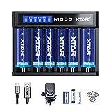 XTAR MC6C 18650 Ladegerät mit 3 A Adapter 6 Bay Smart Charger für wiederaufladbare 18650 18350 18700 21700 22650 25500 32650