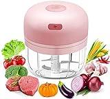 Mini Küchenmaschine, elektrischer Lebensmittelzerkleinerer mit USB-Aufladung, elektrischer Lebensmittelzerkleinerer mit 3 scharfen Klingen, Küchenmaschine für Babynahrung/Zwiebeln/Obst (Pink)