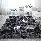 Aujelly Soft Area Rug Schlafzimmer Shaggy Teppich Zottige Teppiche Flauschige Bunte Batik-Teppiche Carpet Neu Dunkelgrau 120 x 200