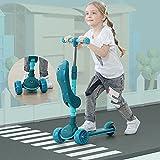 Kinder-Scooter mit abnehmbarem Sitz, faltbar, 3 Räder, Jungen und Mädchen, Roller mit 4 einstellbaren Höhen, sanftes Fahren, Lean To Steer Tretroller mit Musik und blinkendem PU-Rad (grün)