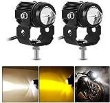 2PCS Motorrad LED Zusatzscheinwerfer Weiß Gelb LED Nebelscheinwerfer für Motorrad E-Fahrrad Nachtfahrscheinwerfer Nebelscheinwerfer
