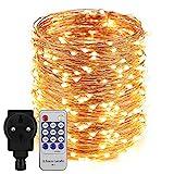 Erchen Strom-betrieben LED Lichterkette, 165 FT 500 LED 50M Stecker dimmbare Kupfer Draht Lichterketten mit 12V DC Adapter Fernbedienung für Innen Außen Weihnachten Party (warmweiß)