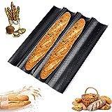 Antihaft Baguette Backblech, 4 Rillen Französisches Brot Backblech, Baguette Backform für 4 Baguettes mit Gute Antihaftbeschichtung, Kohlenstoffstahl Backblech, für Familie Bäckerei