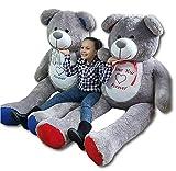 Odolplusz Teddybär 200cm | Farbe : Grau mit Blau | Groß Teddy Bear Plüschbär Stofftier Kuscheltier Plüschtier XXL