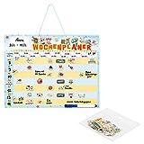 Navaris abwischbarer Wochenplan magnetisch 40 x 32cm - mit 98 Magneten und Stift - individualisierbare Magnettafel Familienplaner Wochenplaner Deutsch