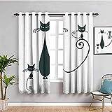 LucaSng Blickdicht Vorhang Wärmeisolierender - Weiß abstrakt Katze Tier - 183x214 cm Junge mit Mädchen Schlafzimmer Wohnzimmer Kinderzimmer - 3D Digitaldruck mit Ösen Thermo Vorhang