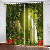 LWXBJX Vorhang Blickdicht für Schlafzimmer Wohnzimmer - Grüner Wald Phoenix - 3D Druckmuster Öse Thermisch isoliert - 234 x 230 cm - 90% Blickdicht Vorhang für Kinder Jungen Mädchen Spielzimmer