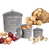 BigDean 3er Set Toskana aus Kartoffeltopf, Knoblauchtopf & Zwiebeltopf Steingut Grau Vorratsdosen Vorratsbehälter mit Belüftung